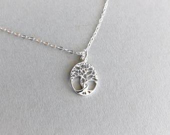Tree Of Life Necklace, Small Sterling Silver Tree Pendant Necklace, Nature Inspired Jewellery