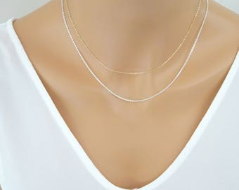 Plain Chain Necklace, Fine Sterling silver chain, Thin cable chain necklace, Dainty Gold fill chain necklace, Rose gold Replacement chain