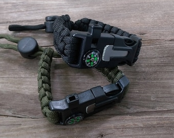 Survival Paracord Bracelet Knife, compass, fire starter and whistle