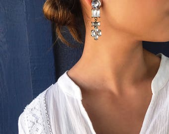 Art Deco Earrings - Statement Earrings/ Dangle Earrings/ Crystal Earrings/ Bridal Earrings/ Bridesmaid Gifts/ Gifts for Her/ Formal Occasion