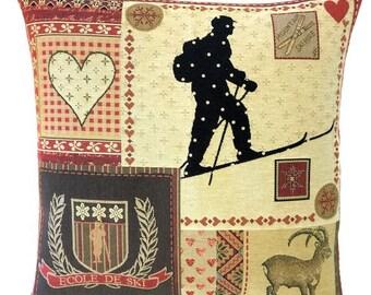 Ski Decor Pillow Cover - Patchwork Pillow - Ski Lover Gift - Mountain Decor - Savoie Decor - BelgianTapestry Cushion Cover - PC-5691