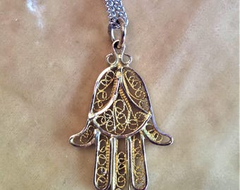 14K Gold Filigree Hamsa Hand on Sterling Silver Chain