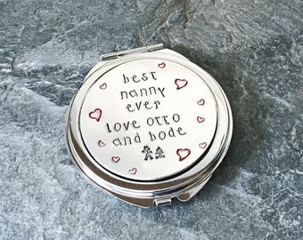 Personalised mirror compact, Mummy gift,  Handstamped mirror, Mothers Day gift, Mommy gift, Nanny, Grandma, Bridesmaids gift