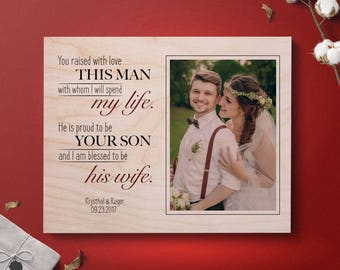 Mother In Law Gift From Bride Parents Of The Groom Picture Frame Personalized