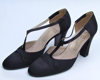 Vintage Kurt Geiger & Natale Ferraric Artisan Made Black Satin Shoes, Size UK 6.5 - 1970's T Strap Pumps, Audrey Hepburn Chic