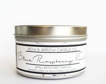 8 oz Natural Soy Candle Black Raspberry Vanilla Scented | 8 oz Tin Candle | Raspberry Candle | Soy Candle | Scented Soy Candle | Gift Ideas