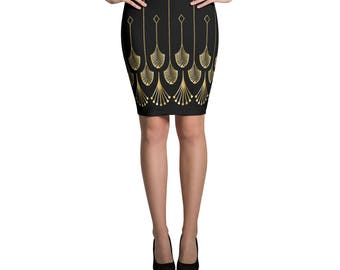Art Deco Print Pencil Skirt, Black and Gold-colored Print