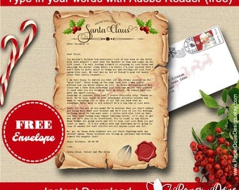 Letter from Santa with envelope - Template letter - EDITABLE & PRINTABLE - Instant Download - type in your own words