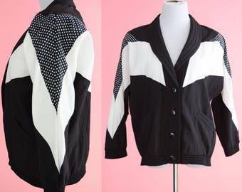 80s 90s Sportswear Jacket // Black and White, Vintage Windbreaker, 1990s Coat, 1980s Outerwear, Unisex Size Small, Medium, Large
