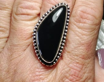 Black Agate Statement Ring - Size 8.75