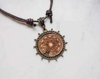 Copper colored 'Moon Sigil' necklace