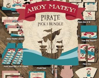 Pirate Printable Party, Pirate Birthday Printables, Pirate Theme Birthday Decorations, Pirate Party Kit, Pirate Boy Birthday