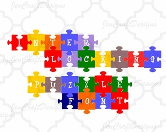 Puzzle Interlocking SVG Font, Digital Alphabet and Numbers, SVG Letters,Svg Dxf Eps Cricut Design Space, Silhouette, Digital Cut Files