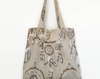 tote bag Tote pleated printed beige linen dream catchers - catches dreams