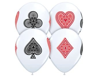 5 Card Balloons - Casino Night - Casino Birthday Party - Casino Party Decor - Party Decorations - Casino Balloons - Magic - Poker Party