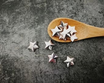 Large stars, stars, silver, 10 mm beads