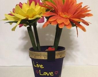 Handpainted Teacher Appreciation Flower Pen Pot