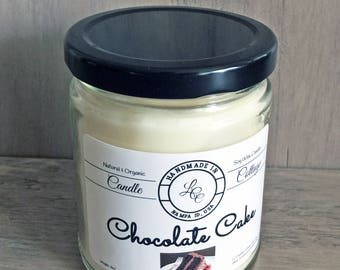Organic Soy Candle- Chocolate Cake- Vegan Life- White Candle- Gift Ideas- Natural Candles- Housewarming Gifts- Gifts for Mom