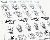 Cora - Happy Mail | mid size monochrome character / action | Planner stickers