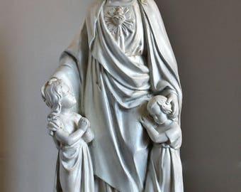 JESUS with CHILDREN Vintage Plaster Statue, Sacred Heart Jesus Christ, Old Religious Statue Catholic Church Altar Decor