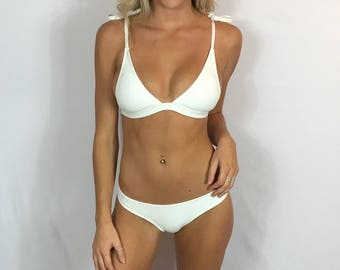 "Large Brazilian Bikini Set White Swimsuit ""Layla"" Waffled Strappy Bathing Suit Set Swimwear top bottom Pepper Blackwood two piece"