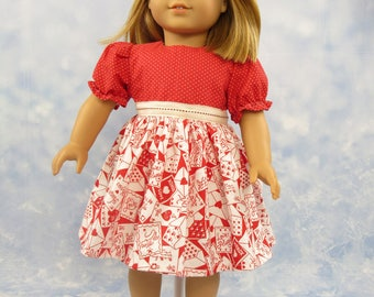 18 Inch Doll Clothes Dress Red Holiday Dress Outfit for American Girl Doll