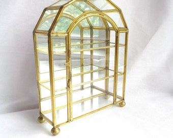 Vintage Glass & Brass Three Shelf Box / Five Glass Panel Ceiling - Mirrored Back and Arched Latch Closure Door - Glass Jewelry Display Case