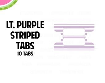 Light Purple STRIPED Tab Stickers    10 Kiss-Cut Stickers   Planner Tabs, Midori Tabs, Bible Tabs, Divider Tabs, War Binder Tabs   LB235