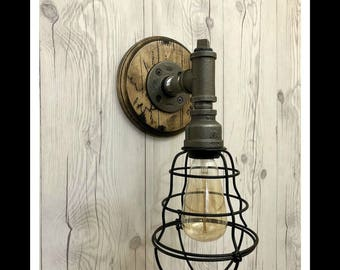 Industrial cage wall light fixture Ste&unk light Rustic sconce light l& Bedside wall & Cage wall sconce   Etsy azcodes.com