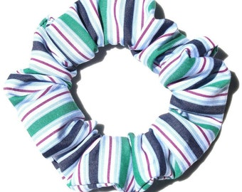 Scrunchie cotton stripes green and blue