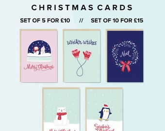 SET of 5 or 10, Greetings Cards, Christmas Card Pack, Christmas Cards, Festive, Seasons Greetings, Multipack Cards