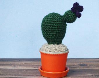 Cactus with Purple Flower - Crochet / Knit Faux Cactus in Orange Ceramic Pot