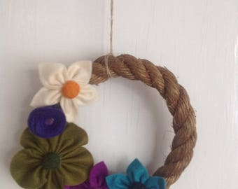 Rope garland with Handsewn felt flowers
