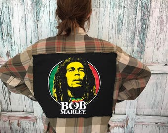 Vintage Bob Marley Hybrid Patched Button Down Flannel Shirt, Large