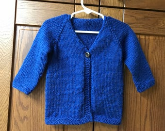 One Button Cardigan - 6 Mo - Bright Blue