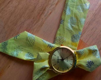 Fabric bracelet Watch Silver and yellow cotton, pineapple watch