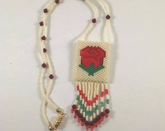 Beaded Rose Peyote Pouch Necklace, Small Amulet Bag, Native American Art Style Jewelry, Red, Green, and Cream Rose Design, Fringed Necklace