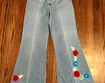 Vintage 1970's Floral Patchwork Embroidered Levi's Bohemian Bell Bottom High Waist Blue Jeans