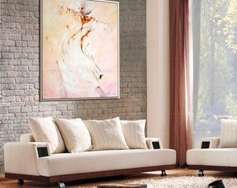 White Decor, Pink Wall Art, Pink Wall Decor, Pink Painting, Living Room Painting, Bedroom Pictures, Bedroom Wall Art, Abstract Canvas Art