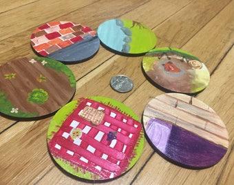 Montessori/Reggio Peg Doll Play Set with Six Scenes and Seven Peg Dolls