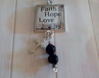CLEARANCE  Strength Necklace/Peace Necklace/Faith ,Hope Love Necklace