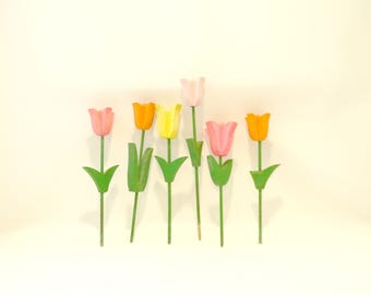 Vintage Wooden Tulips / Set of Six