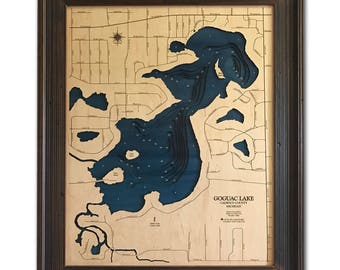 Goguac Lake Dimensional Wood Carved Depth Contour Map - Customize With Your Home Information