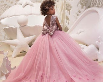Blush Pink Flower Girl Dress with Sparkling Sequins - Birthday Wedding Party Holiday Bridesmaid Flower Girl Blush Pink Dress  21-068