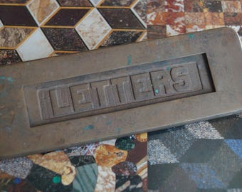 Antique Brass Mail Slot Front / Old Time Postal Delivery Door Mail Slot / Woodworking Restoration Creative Reuse / Aged Graphics LETTERS