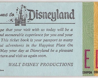 """3 PRIZED """"E"""" & 2 """"D"""" Tickets - Half-Century Old Disneyland Tix in Booklet - Walt Disney Productions - 1970s - VERY COLLECTIBLE"""