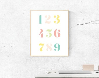 Numbers, Digital Print, Numbers Art, Numbers Art, Digital Download, Numbers Wall Art, Wall Prints, Printable Art