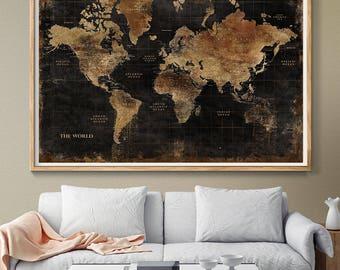 Map wall hanging etsy huge classic black world map vintage elegant home decor home bedroom gumiabroncs Images