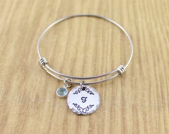 Monogram Bracelet Silver • Silver Monogram Charm Bangle with Birthstone • Initial Bracelet • Initial Bangle • For Little Girls/Teens/Adults