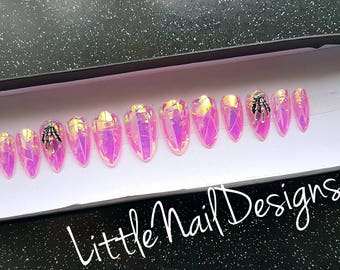 Holographic Iridescent Pink Hand Painted False Nails Skull Hand Charms | Little Nail Designs